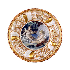 ceramic porcelain baroque round plate with angels design finished in pure gold handmade in Italy