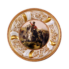 ceramic porcelain baroque round plate with design finished in pure gold handmade in Italy