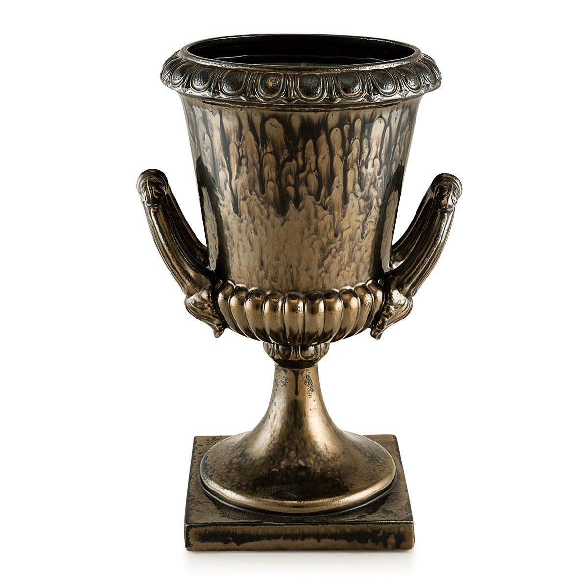 Ceramic krater vase with two handles in burnished bronze | Vinci