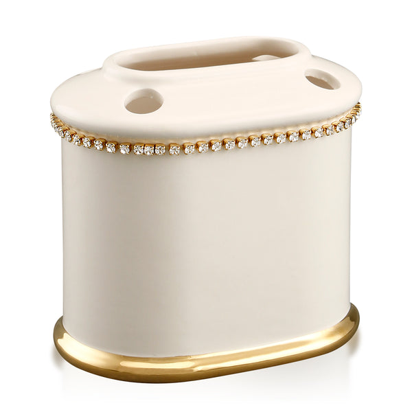 Ceramic toothbrush holder with crystals chain