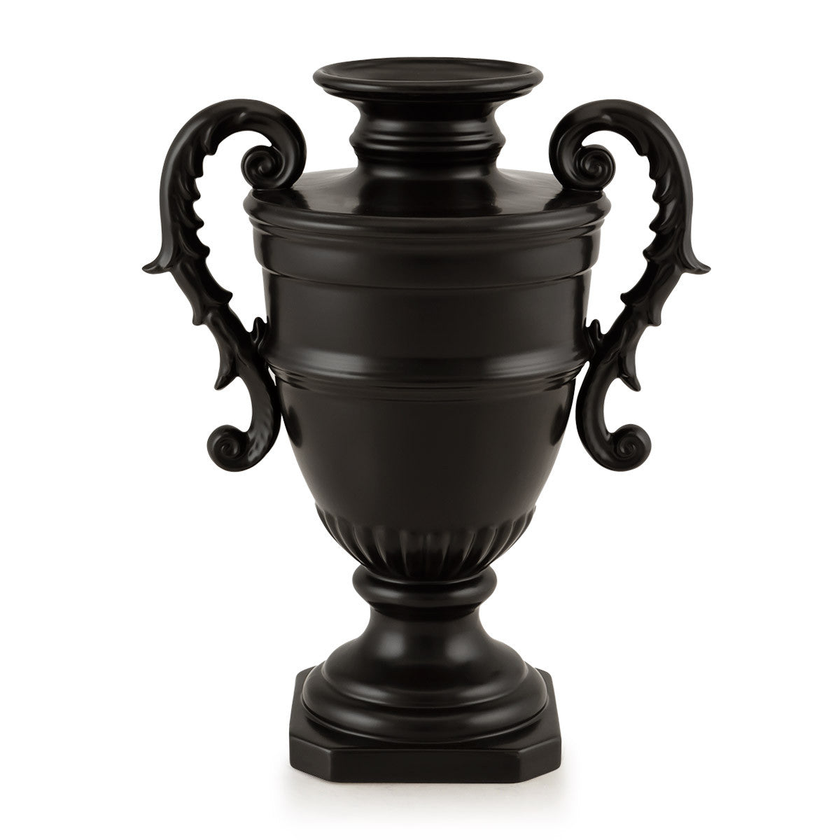 Black ceramic vase with two handles