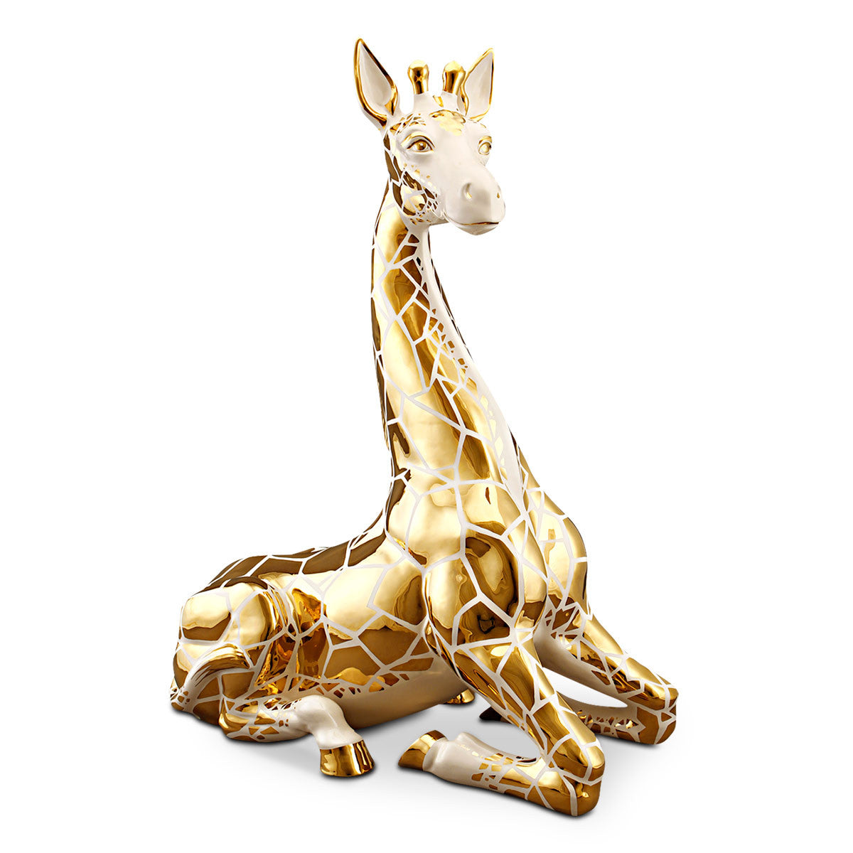 Hand Painted Italian Ceramic giraffe statue-24Kt gold-animal gifts-luxury home decor-elegant accents