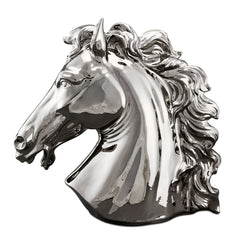 Ceramic large horse head statue with platinum finish