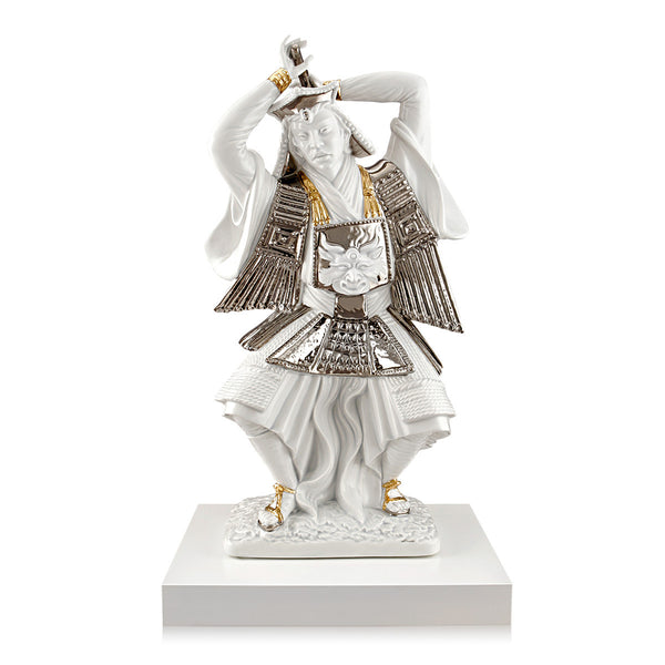 ceramic porcelain Samurai with sword finished in pure platinum and gold handmade in Italy
