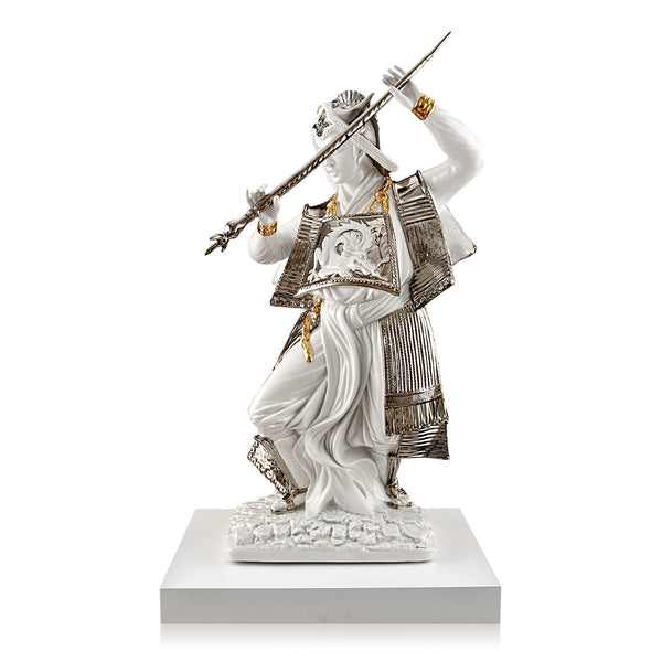 ceramic porcelain Samurai with sword and white wood base finished in pure platinum and gold handmade in Italy