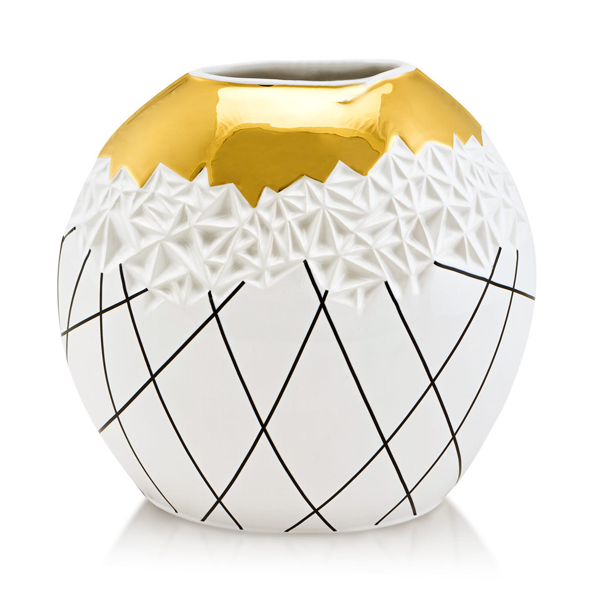 ceramic porcelain contemporary vase finished with contemporary decoration handmade in Italy
