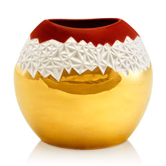 ceramic porcelain vase finished in red color and gold handmade in Italy