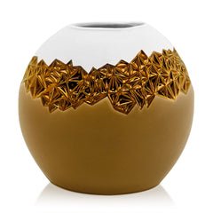 ceramic porcelain vase finished in brown color and bronze handmade in Italy