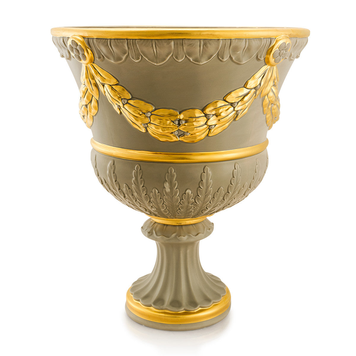 Ceramic krater vase with relief festoon