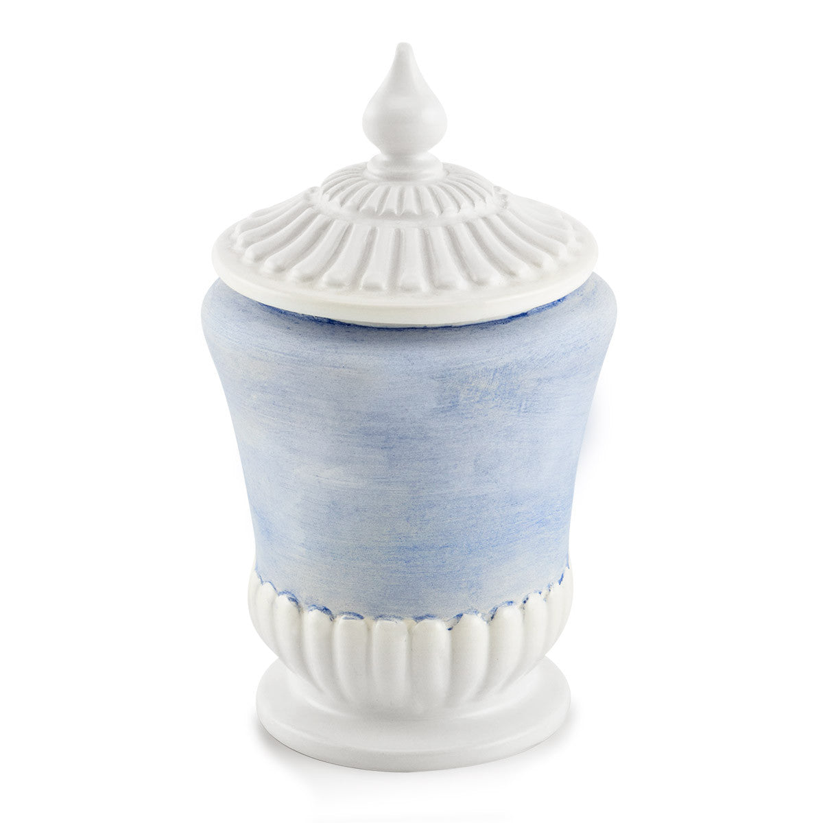 Ceramic jar with lid in light blue