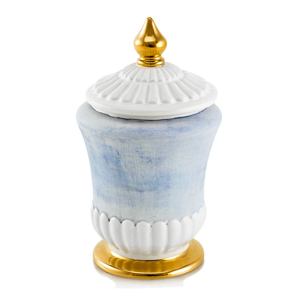 Ceramic jar with lid with gold accents and light blue color