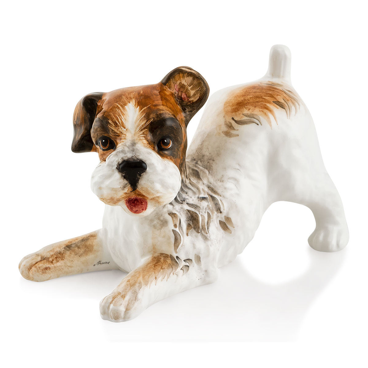 puppy terrier dog hand-painted ceramic porcelain  finished in natural color