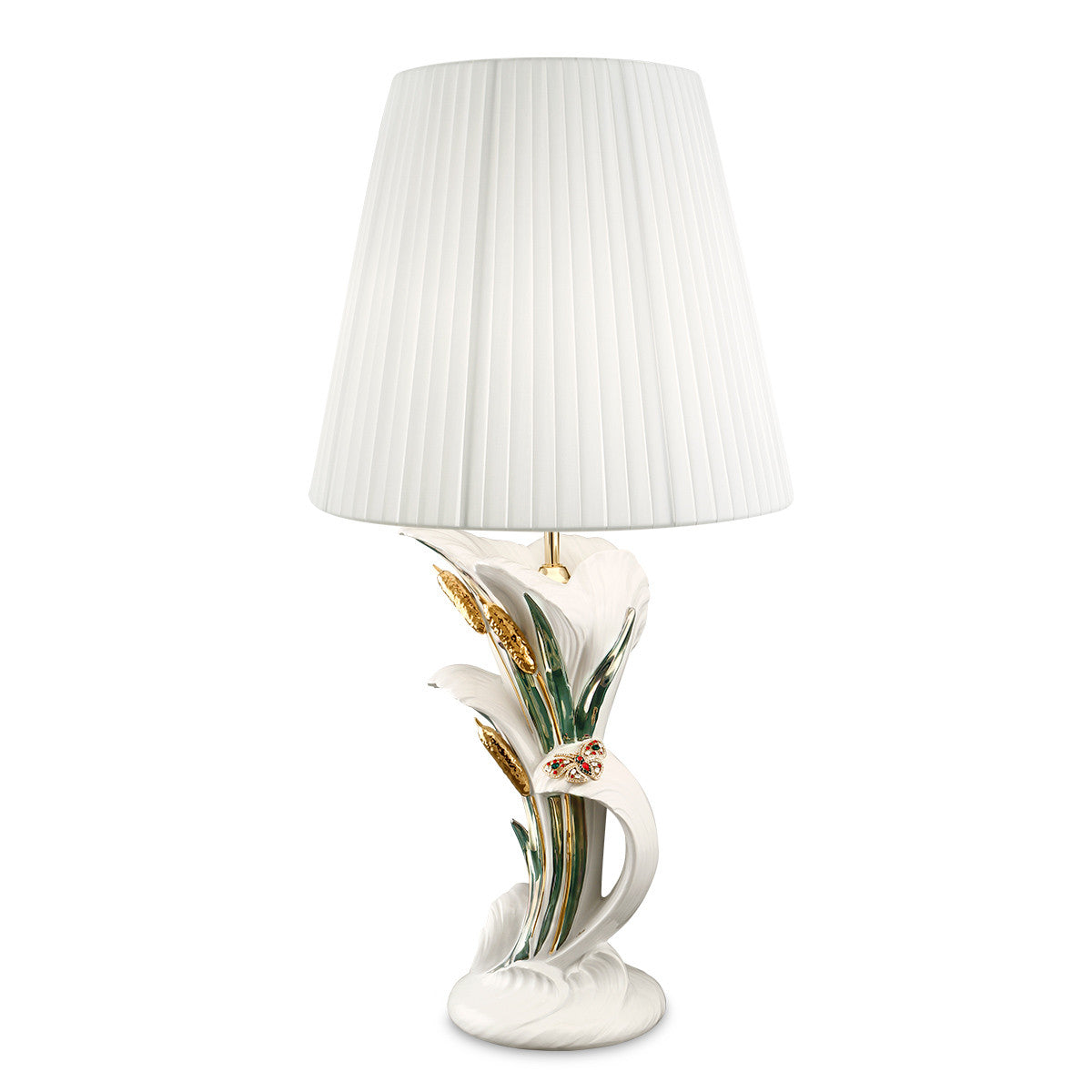 Hand painted pottery | Ceramic table lamp | 24kt gold with crystal butterfly