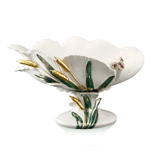 Ceramic pedestal bowl with crystal butterfly