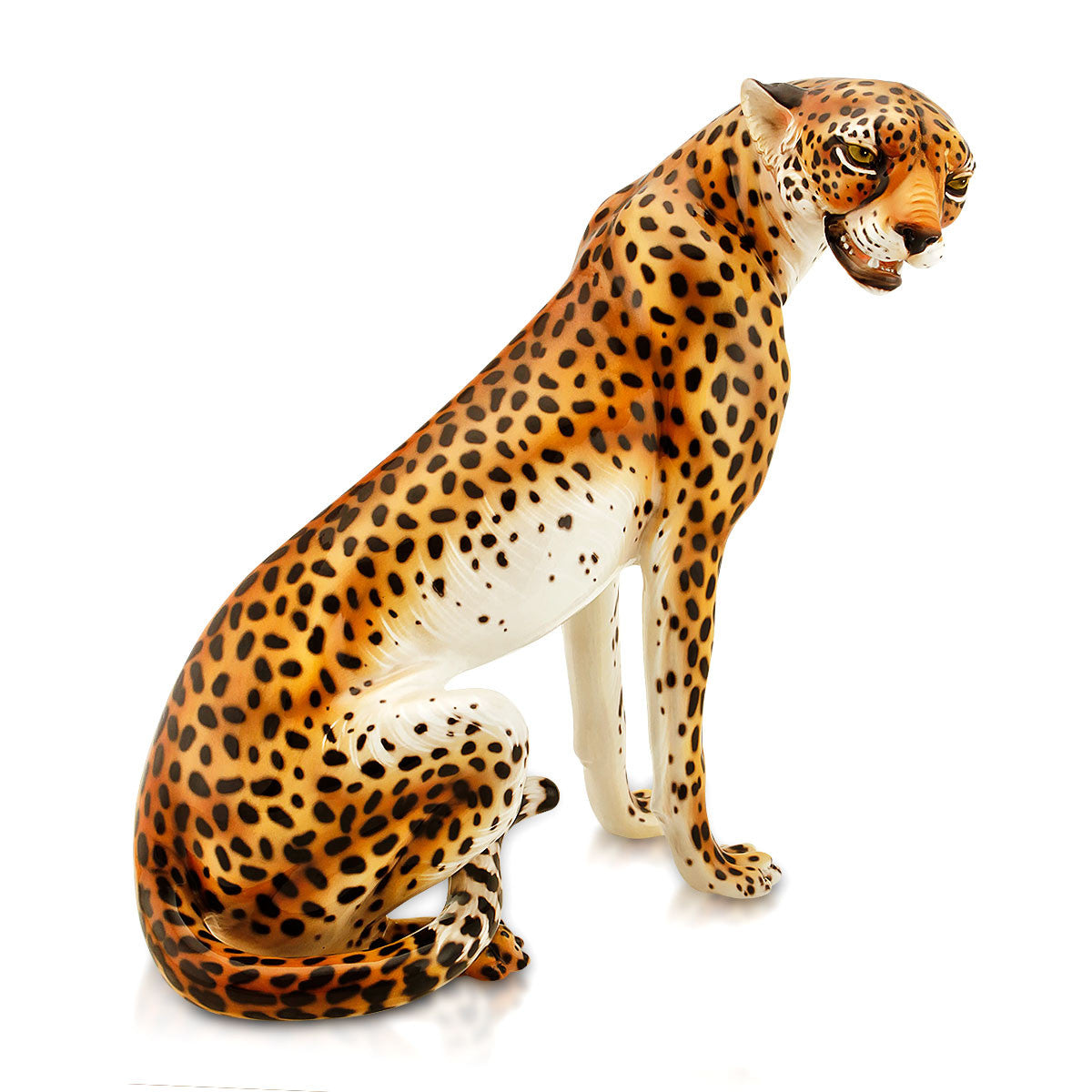 Large ceramic leopard statue with lifelike details
