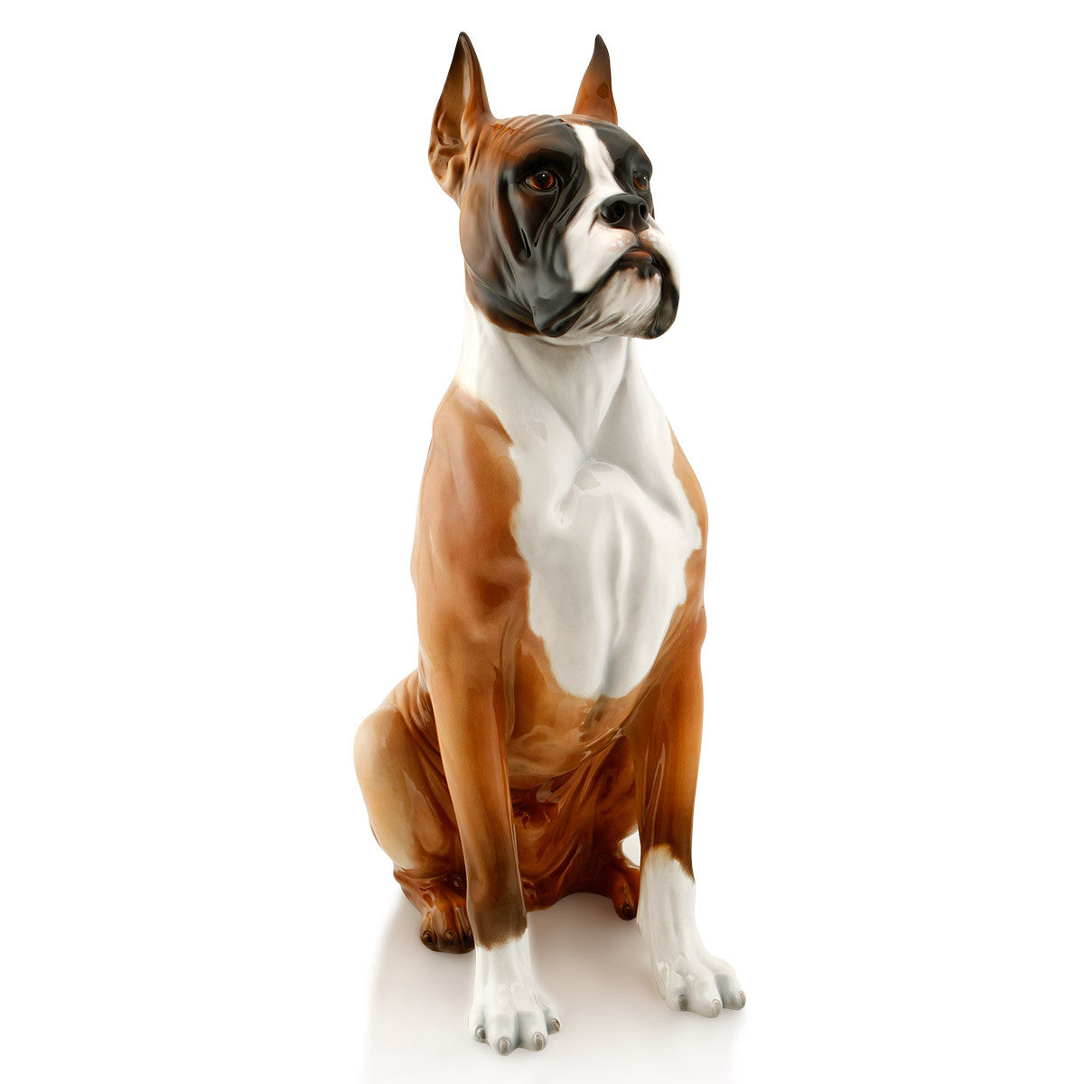 Ceramic big boxer dog statue with lifelike details