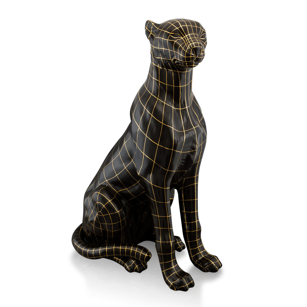 Sitting large ceramic leopard statue - wireframe