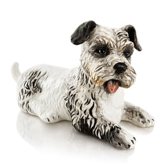 dog terrier hand-painted ceramic porcelain finished in natural color