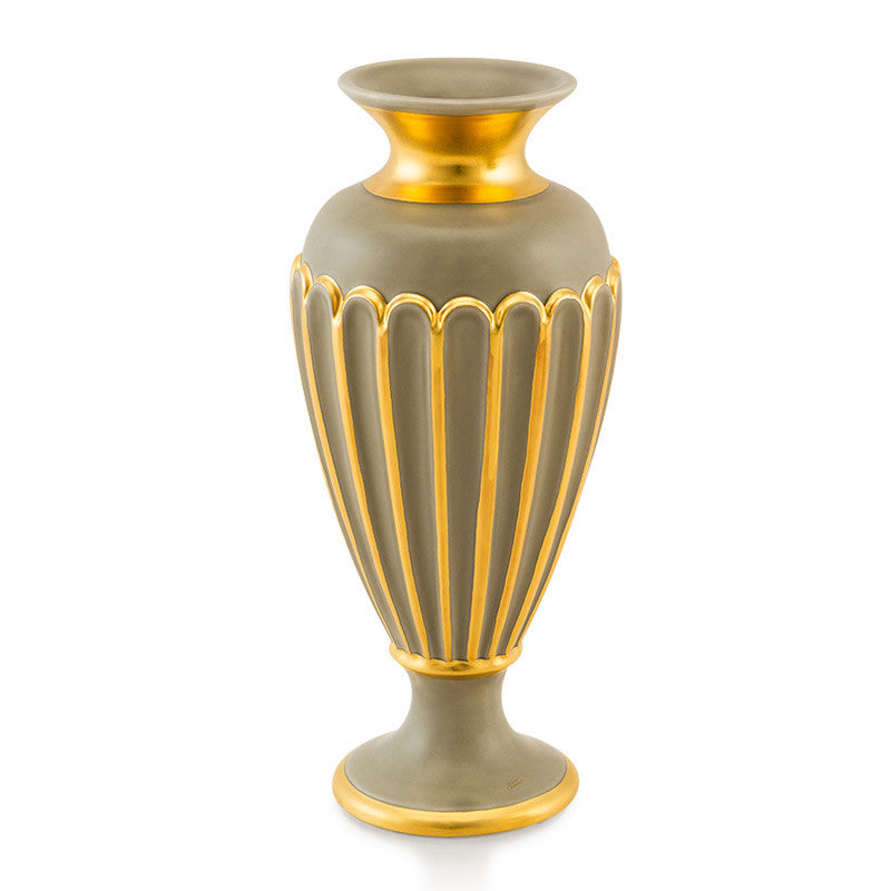 Ceramic grey vase with gold accents | Atene