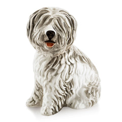 Ceramic old english sheepdog statue with lifelike details