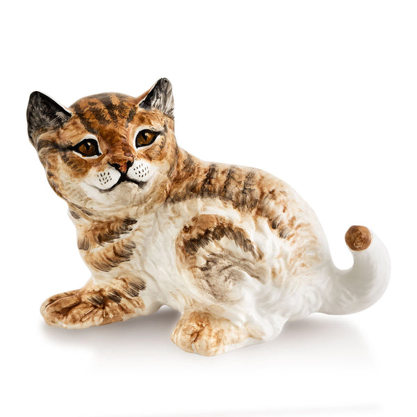 Hand-painted ceramic porcelain baby tiger finished in natural color