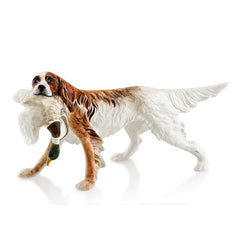 Ceramic english setter hunting statue with lifelike details