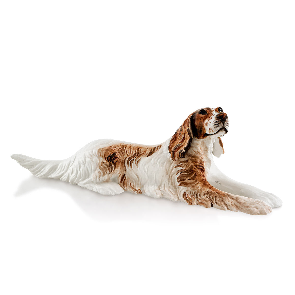 Ceramic english setter statue with lifelike details