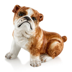 Ceramic sitting bulldog statue with lifelike details-dog lover gifts-Country ceramics