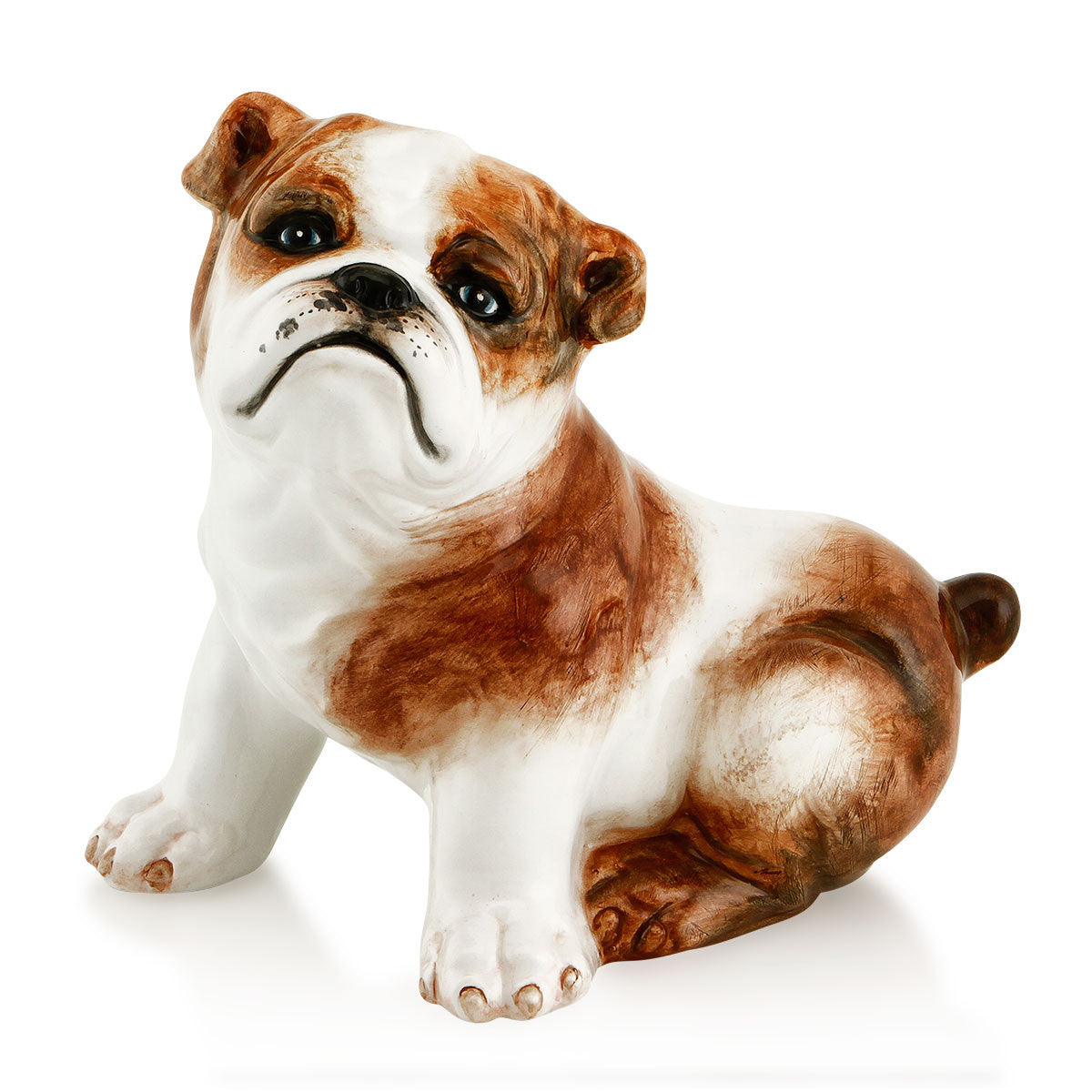 Ceramic sitting bulldog statue with lifelike details