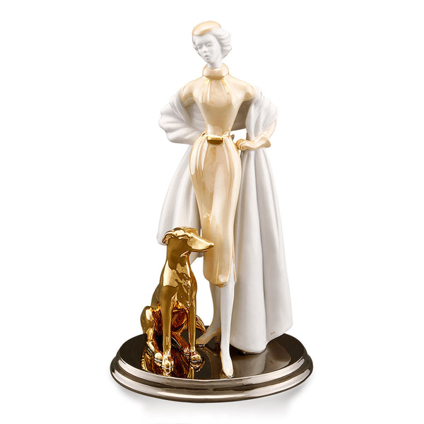 Ceramic figurine |  Woman with greyhound dog