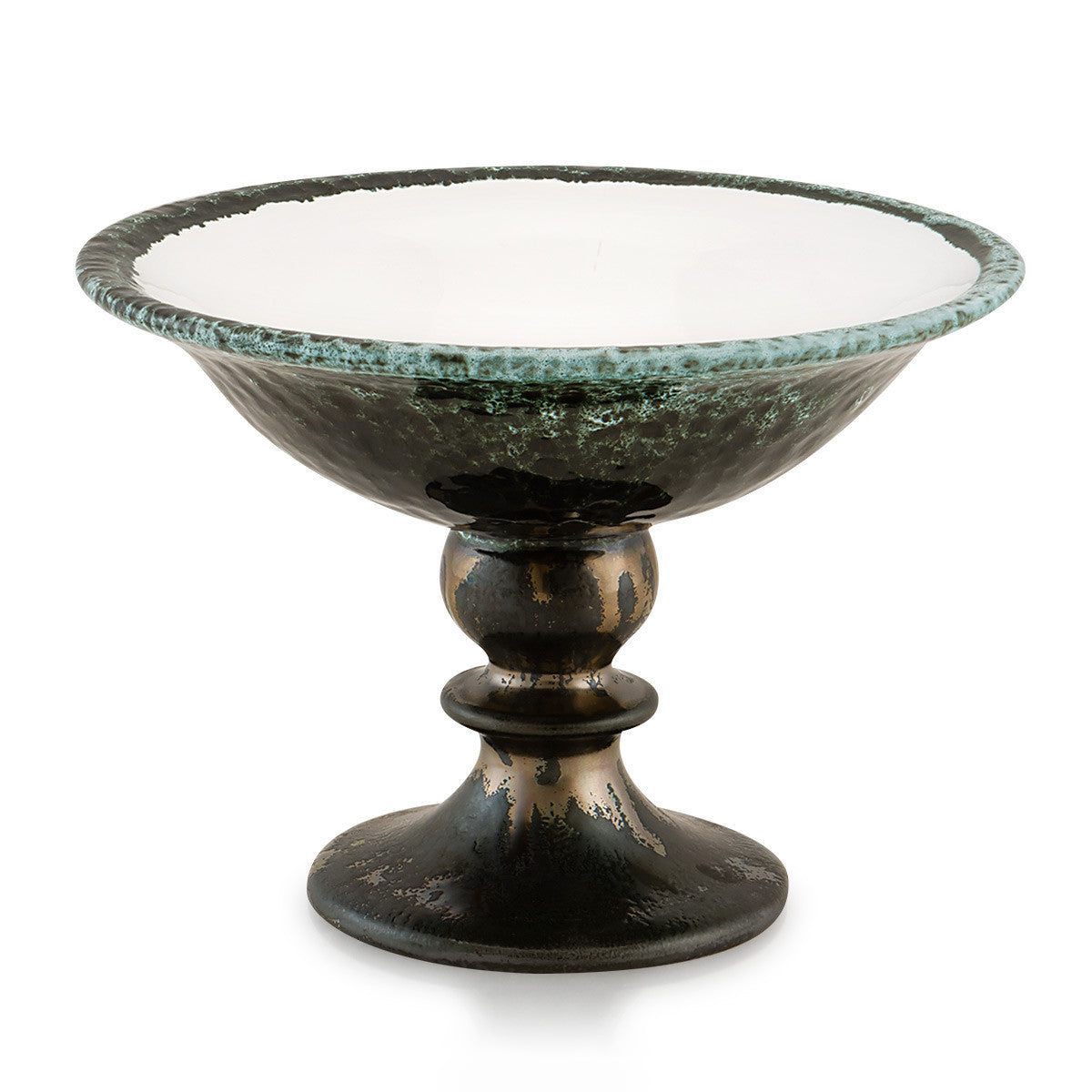 Ceramic pedestal bowl with reactive glaze