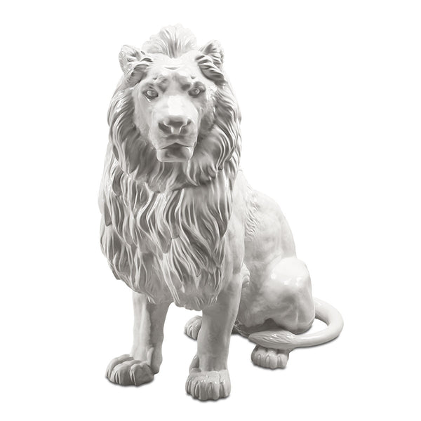 white big lion italian ceramic porcelain handmade
