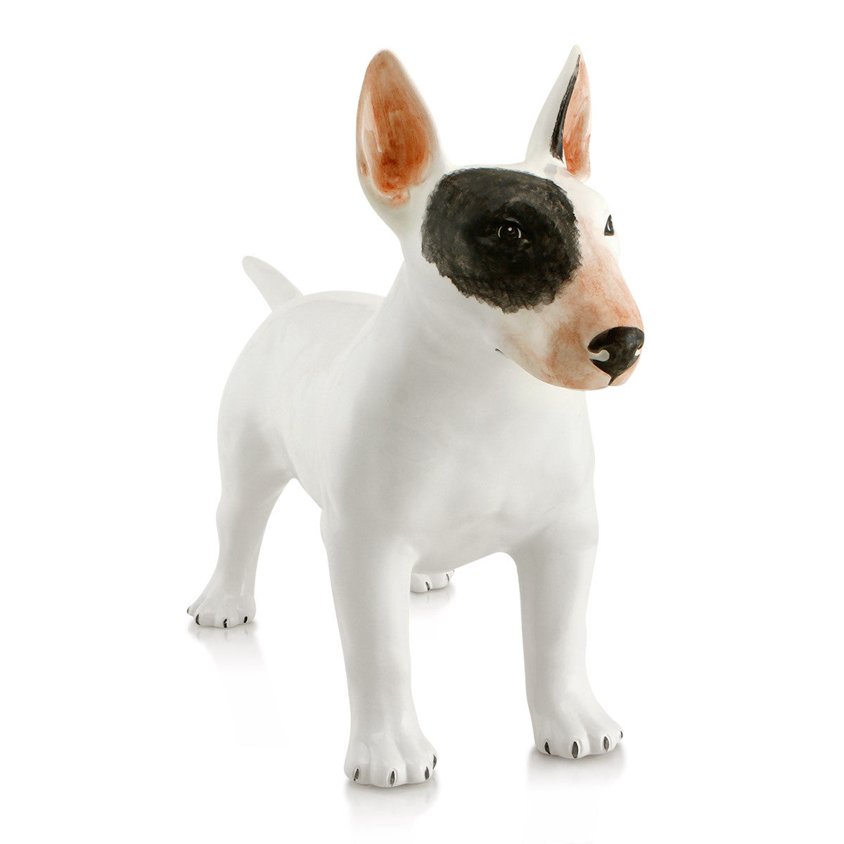 Bull Terrier dog hand-painted ceramic porcelain finished in natural color