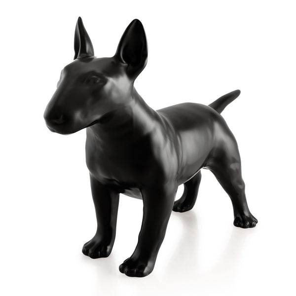 Black ceramic bull terrier statue