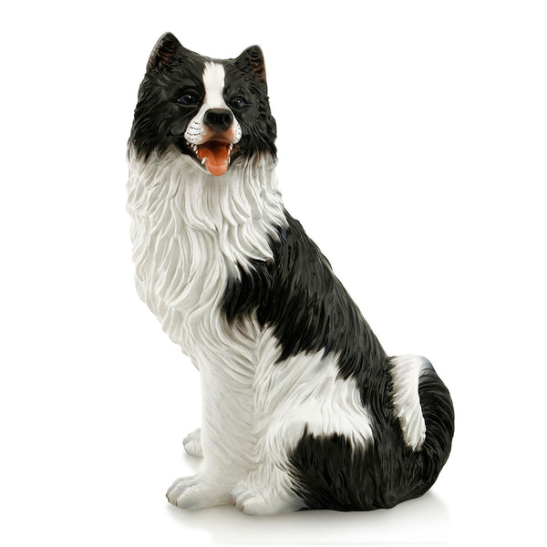 Hand-painted ceramic porcelain border collie dog finished in natural colors