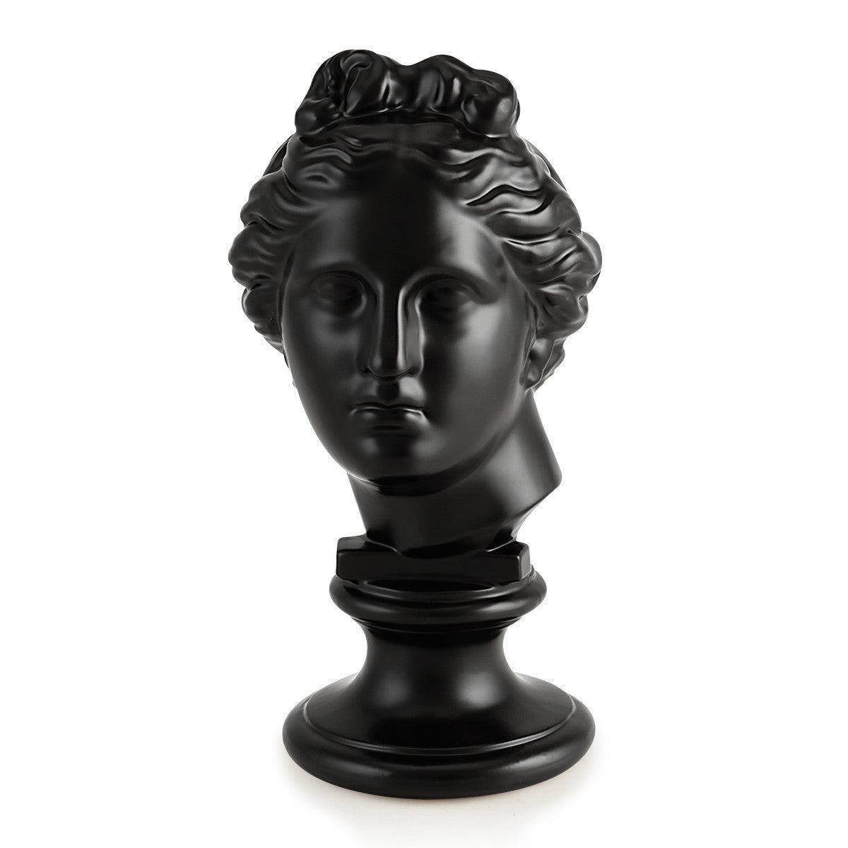 Black ceramic greek bust statue