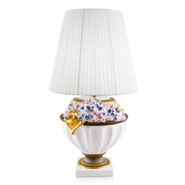 Ceramic table lamp with flowers