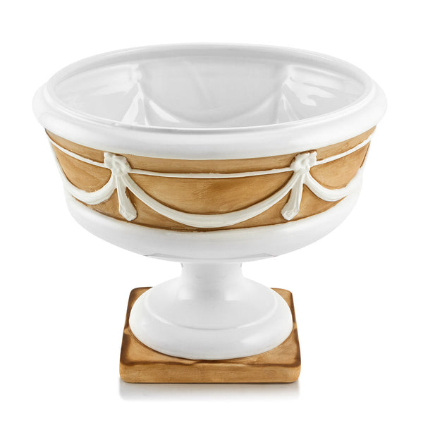 Ceramic pedestal bowl with brown detail