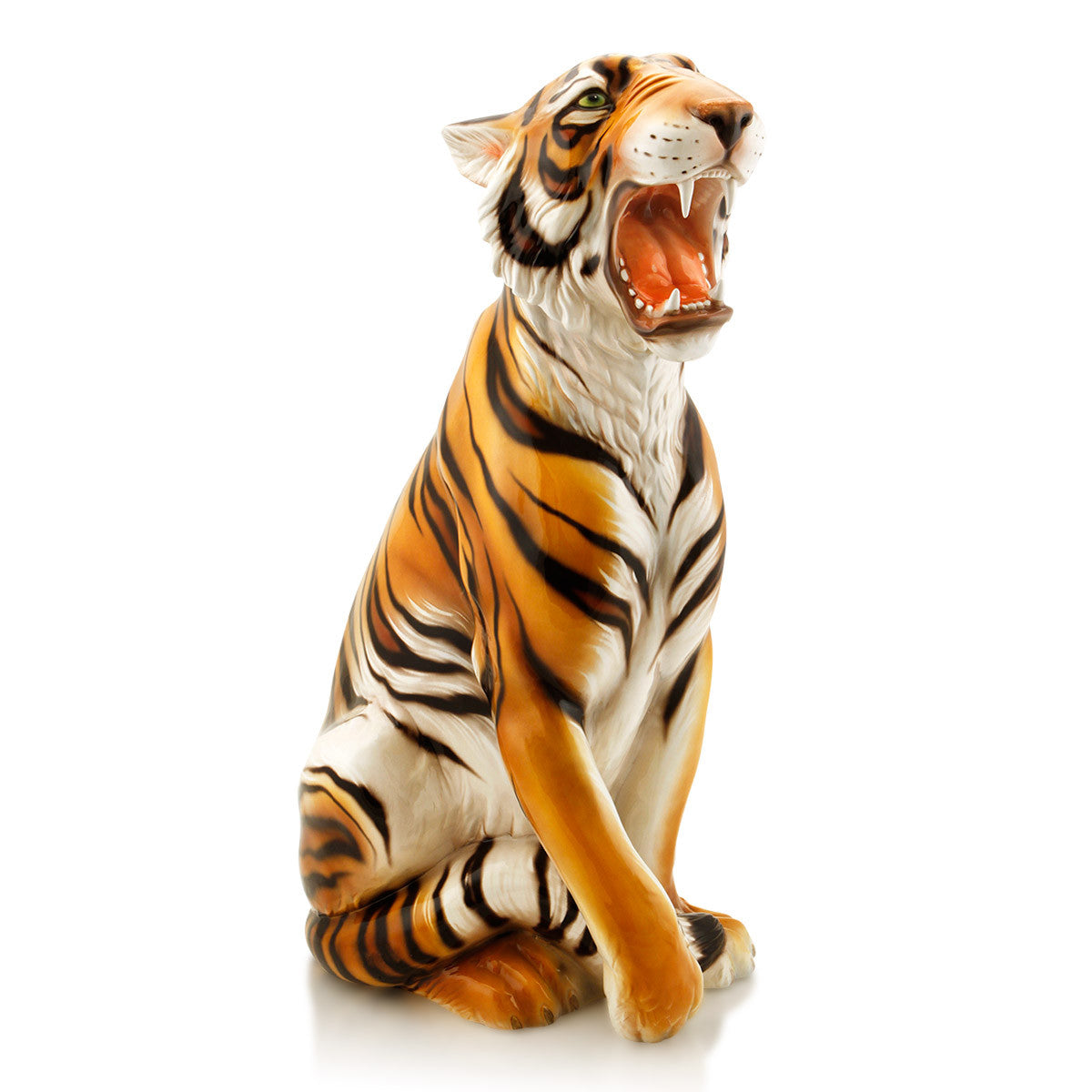 majestic striped tiger hand-painted ceramic porcelain finished  in traditional color