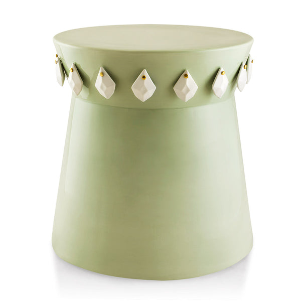 ceramic side table | end tables | coffee table | light green color