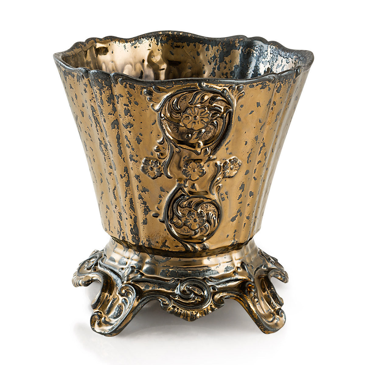 Ceramic cachepot in burnished bronze finish | Roma