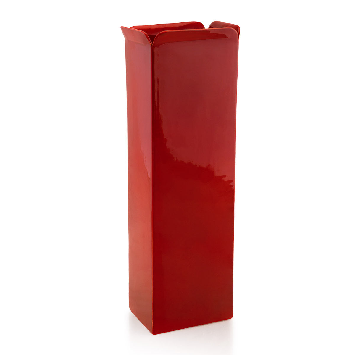 Ceramic rectangular long vase red color