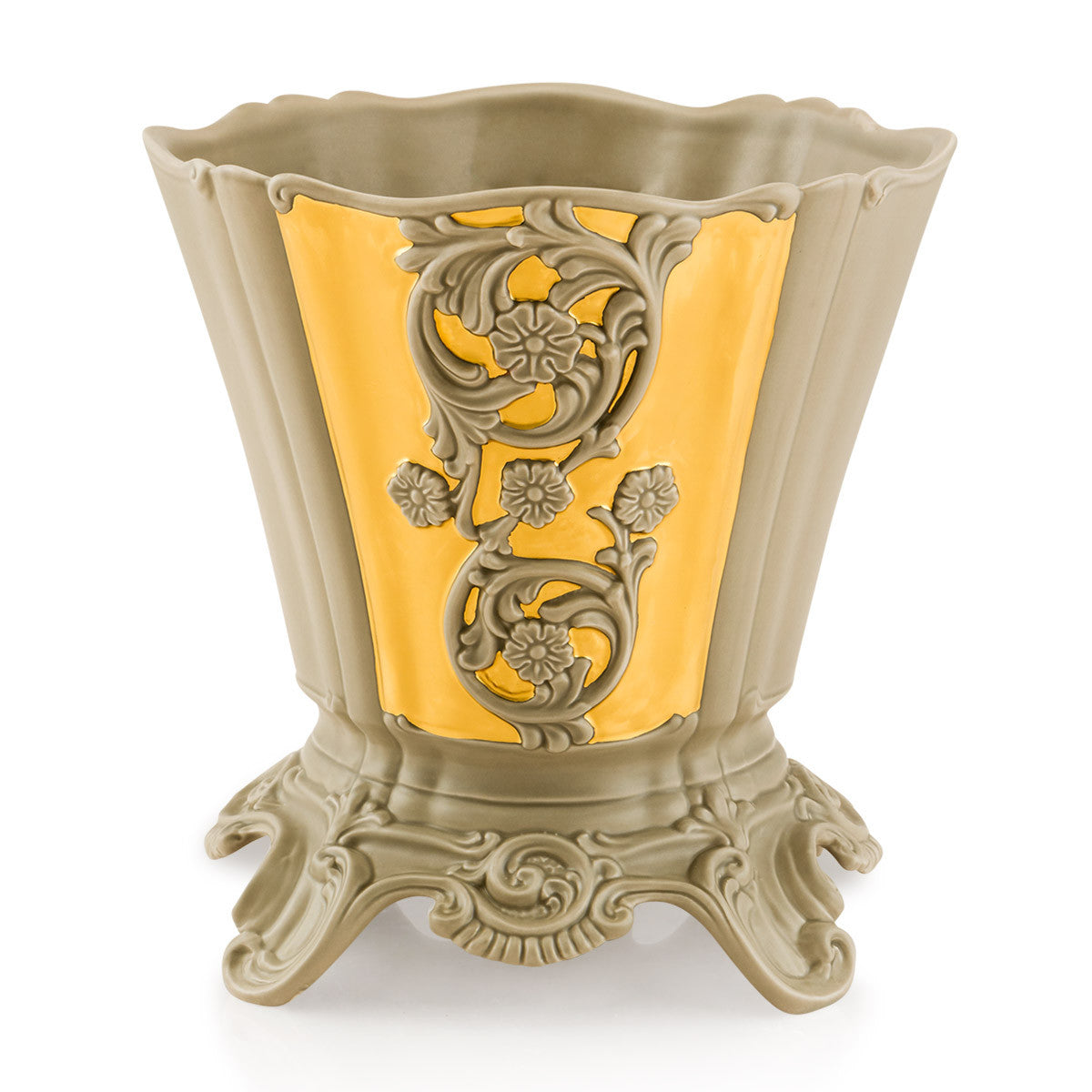 Ceramic cachepot with gold accents | Roma
