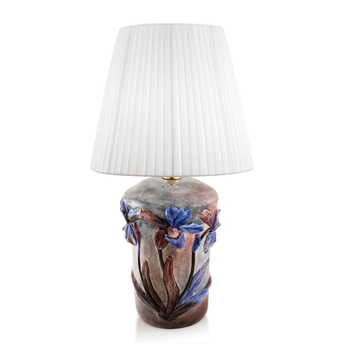 Ceramic table lamp with orchid relief