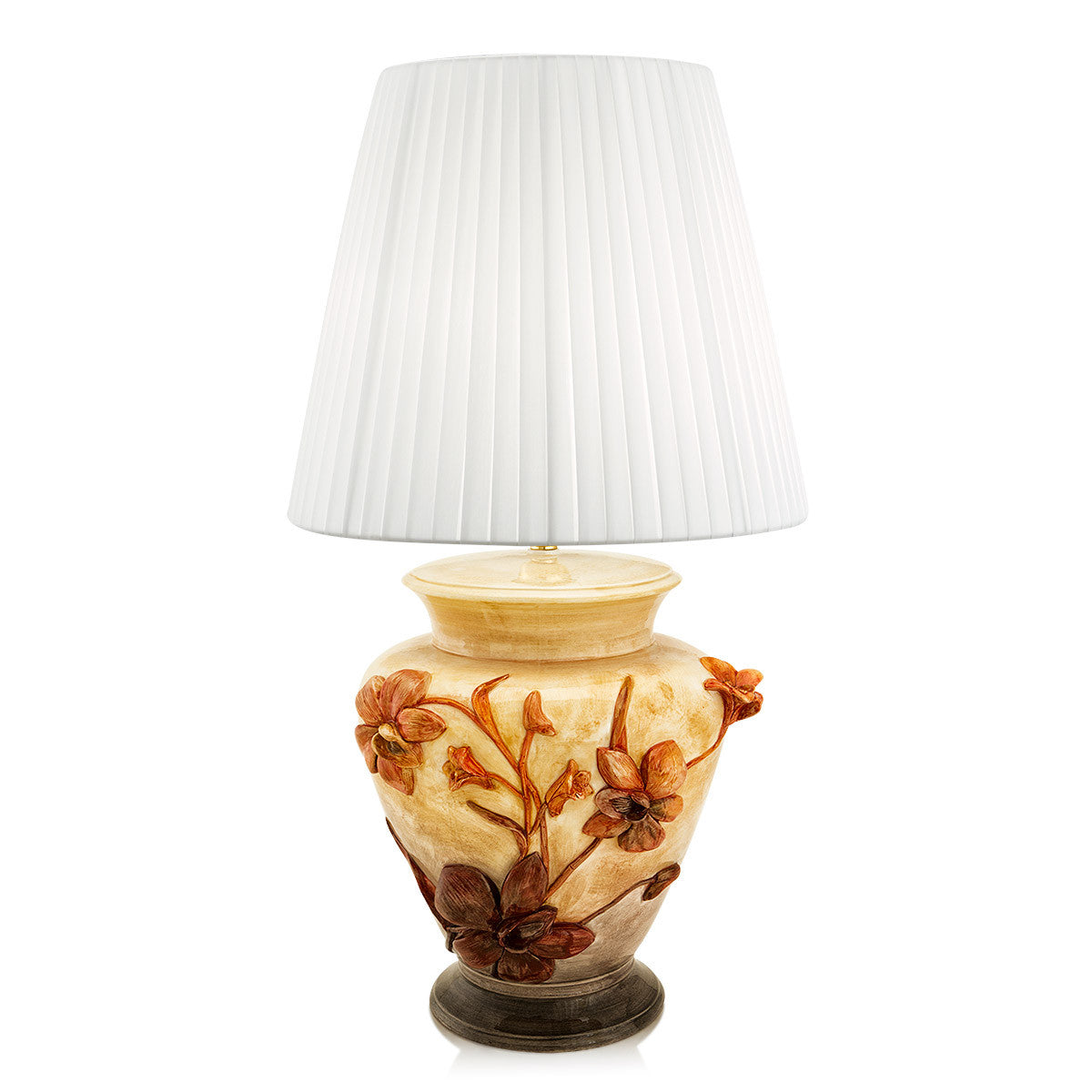Hand painted pottery porcelain lamp Thai Orchid finished with 24kt gold and warm colors