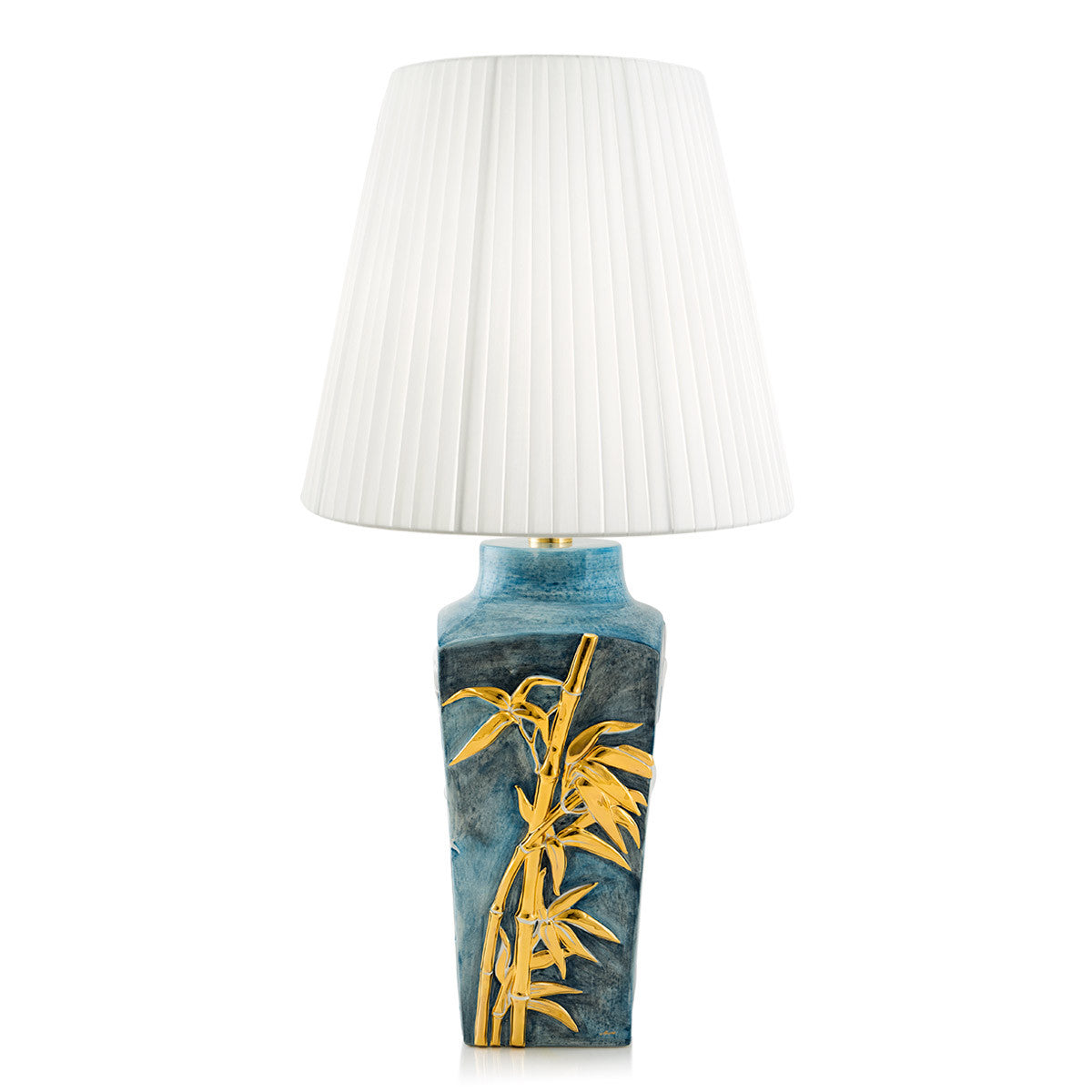 Bamboo Ceramic Table Lamp Light Blue Color, 24kt Gold