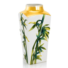 ceramic porcelain bamboo vase finished in pure gold and green color handmade in Italy