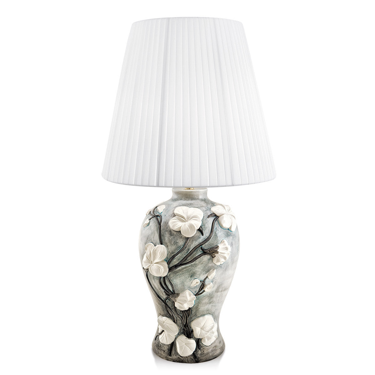 Ceramic table lamp with jasmine relief