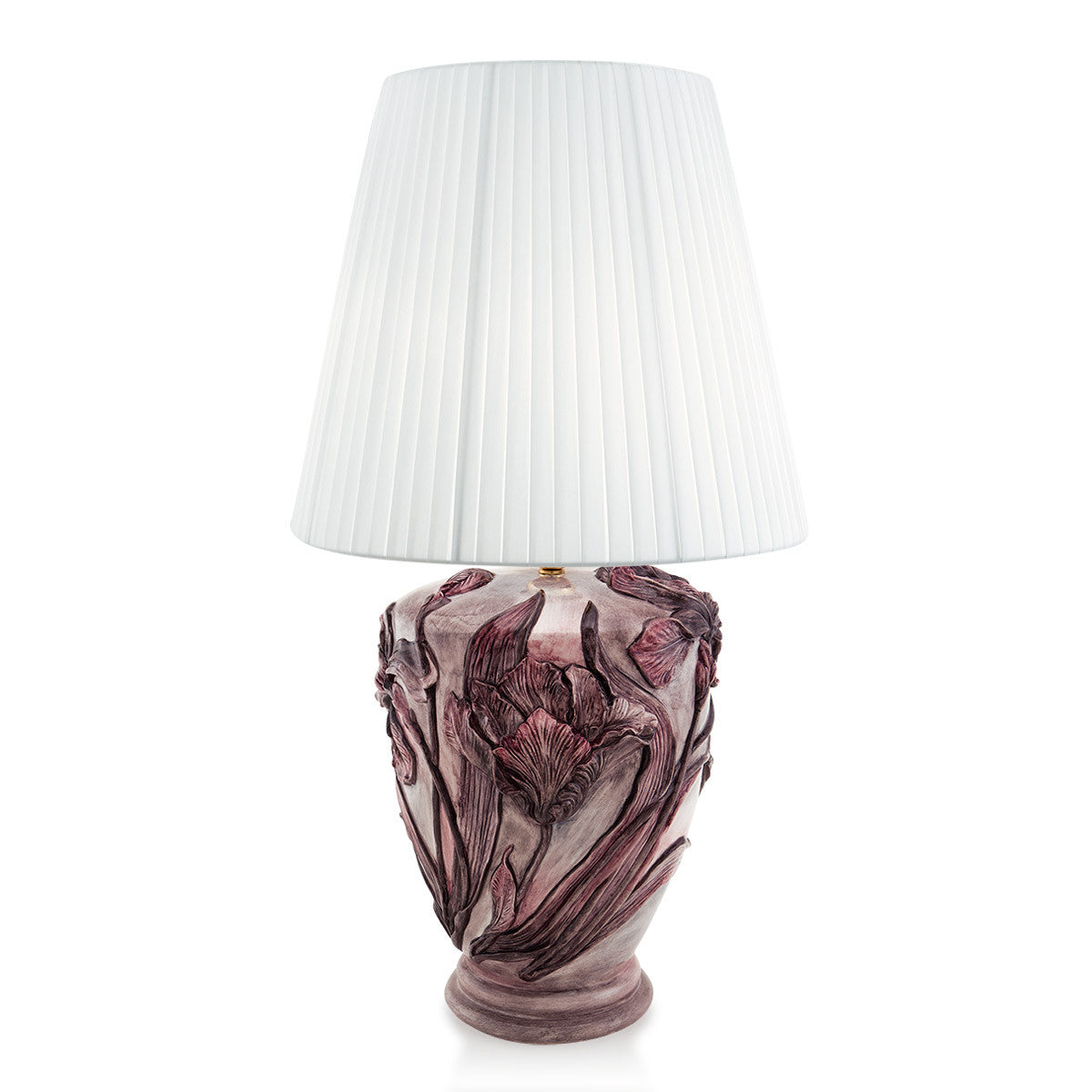 Ceramic Table Lamp With Iris Relief