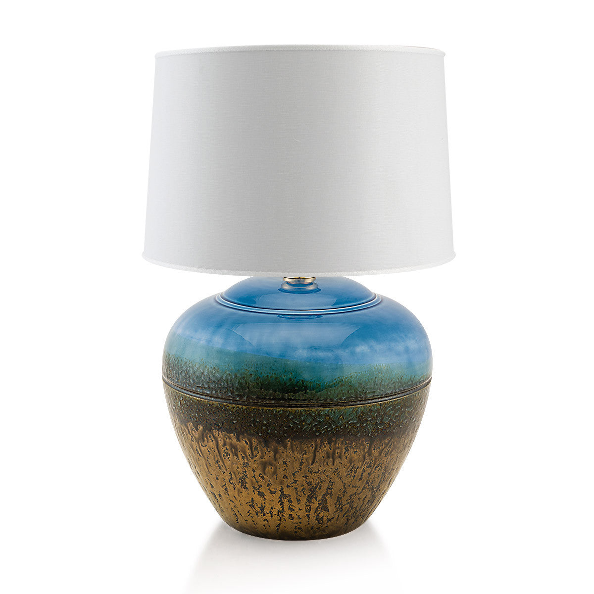 Hand painted pottery | Ceramic table lamps finish with blue color mix with burnished bronze